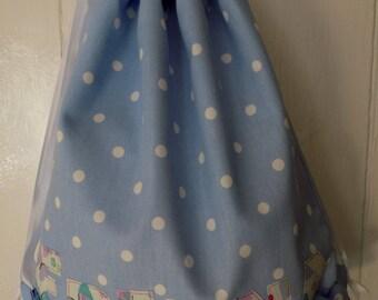 personalised school bag, embroidered school bag, back to school, PE bag, gym bag, floral, polka dot, drawstring bag, personalised bag