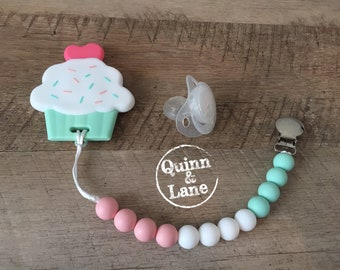 Pacifier Clip w/ Silicone Teething Cupcake Teether - Bite Beads Soother Clip Baby Toy - Chew Toy - Chewing Beads - Teething Toy - Teether