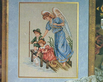 CROSS STITCH PATTERN - Guardian Angel With Playing Children Counted Cross Stitch Chart - Angel Cross Stitch