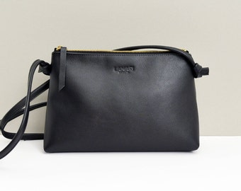 Leather zip Pouch,black leather bag I LOLA