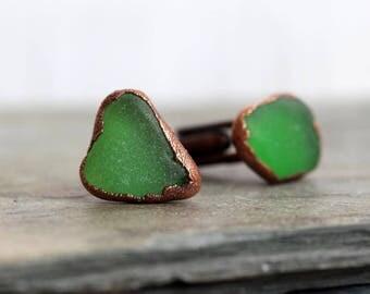 Beach Glass Cufflinks Groomsmen Gift Green Sea Glass Seaglass Cufflinks Beach Wedding Electroformed Cufflinks Best Man Wedding Gift