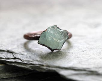 Aquamarine Ring Electroformed Copper Electroformed Ring Raw Aquamarine Ring Stone Ring Natural Stone Chunky Stone Ring Pisces Jewelry
