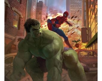 Hulk and Spiderman / Superhero Poster / Marvel Poster (12 x 18)