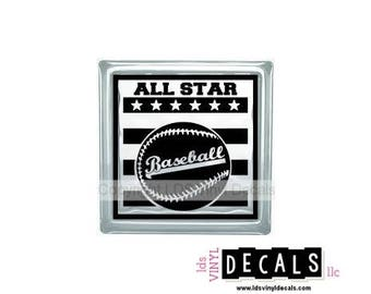ALL STAR Baseball - Sports and Athlete Vinyl Lettering for Glass Blocks