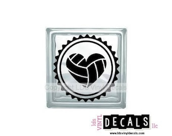 Volleyball Heart - Sports and Athlete Vinyl Lettering for Glass Blocks