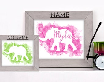 Custom Name-Print-Personalized-Cute-Elephant-Baby Shower-Baby Decor-Toddler Room Idea-Elephant-Pink-Green-Name Decor-Kids Decor-Elephant