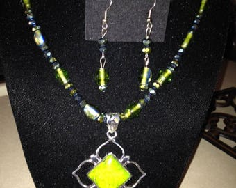 Aqua Terra Jasper Green Pendant with Iridescent Crystal and Glass Beads Necklace