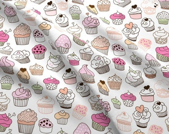 Sweet Cupcakes Girl Fabric by the Yard Cotton Fabric Birthday Fabric Organic Cotton Birthday Cake Childrens Fabric 2370966