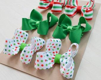Christmas hair bows, Christmas hairbows, set of Christmas bows, Hair clippies, Christmas hair clips, pigtail bows, baby bows