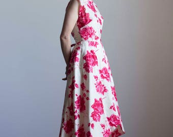 1950s Silk Rose Print Couture Party Dress // Size Small