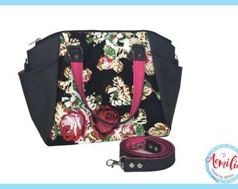 Annette handbag, roses, black, embroidery, handmade, swoon,