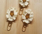 Set of Three Beige Fall Owl Page Planner Clips, Designer Paper Clips Handmade by FairyLace Designs