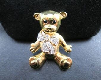 Vintage Teddy Bear with Bow Brooch Pin Gold Tone with Rhinestones by Roman Signed