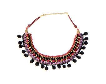 Ethnic necklace - Tribal collar - Textile jewelry - Braided jewelry - Hippie necklace - Pompom necklace - Fabric jewelry - Bohemian look