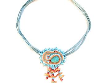 Soutache choker - Soutache jewelry - Bohemian necklace - Textile choker - Collier soutache - Fabric necklace - Festival look