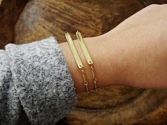 HOLIDAY SALE • Golden Bar ID Bracelets • Chained Bracelet • Gold plated brass • Gold Bar • Layered Id Bracelets • Handmade Stacked Bracelets