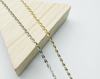 2 yards, Brass Chain, 2mm Cable Chain