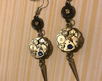 Steampunk Earrings, Dangle Earrings, Timepiece, Steampunk Jewelry, Unisex, Jewelry, Gold, Earrings, Women Earrings,Gift Idea