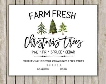 8x10 Christmas Printable, Farm Fresh Christmas Trees, Farm Truck Print, Typography Art, Holiday Art, Holiday Decor, Instant Download