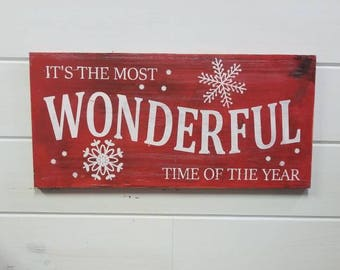Farmhouse Christmas sign, Christmas decor, vintage Christmas sign, red Christmas sign, It's The Most Wonderful Time of the Year Sign