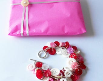 Heart Charm Bracelet, Alice in Wonderland Fan Bangle, Queen of Hearts Accessory, Gifts for Girls, Sewing Favor, Free Spirited Fashion