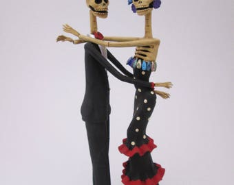 CATRINAS DANCING COUPLE, 100% handmade,skull, mexican day of the dead, 15""