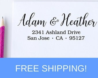 Address Stamp, Self Inking Return Address Stamp, Wedding Stamp, Custom Address Stamp, Housewarming Gift  (D207)