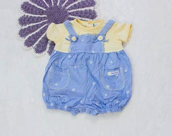 Vintage Baby Daisy Infant Romper- Denim Overalls Outfit- 6-9 Months