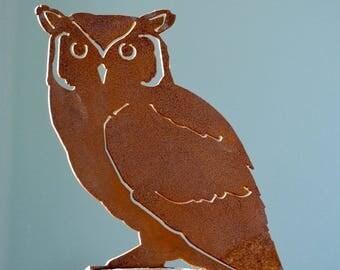 B727 Screech Owl Steel Silhouette with Rusty Patina
