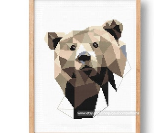 Baby Cross Stitch Pattern, Animals, Bear, Woodland, Nursery Embroidery DIY