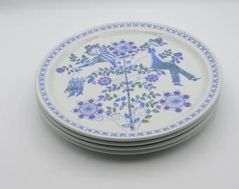 Four Figgjo Norway Lotte Plates, Norwegian Ceramic, Retro Plates, Vintage Plates, Scandinavian Design