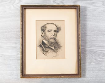 1800's Portrait of Man / Framed Rustic Print of Bearded Gentleman / Titled Jacques Reich 1890