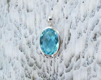 Checker Cut Swiss Blue Topaz Quartz Bezel Set in Nickel Free Silver, Semi Precious Gemstone Jewelry BT3