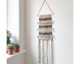 Boho knitted wall hanging, knitted wall hanging, macrame wall hanging, dream catcher, knitted wall art, textile art, macrame, wall decor