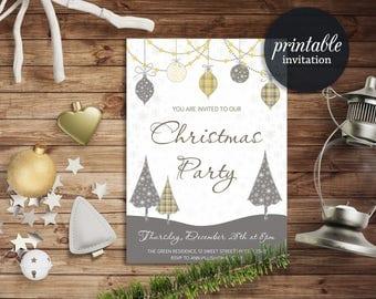 Christmas Invitation, Christmas Party Invitation Printable, Winter Invitation, Printable Christmas Invite, Holiday Party Invitation