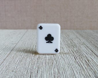 Black Clubs Card - Playing Cards -  Casino - Gamble - Card Game - Gift Idea -  Lapel Pin