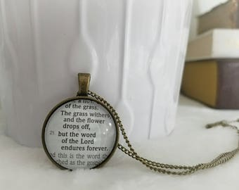The word of the Lord endures forever Bezel Necklace/Pendant/Gift for Her/Gift for mom/Gift for Wife/Christian Jewelry/Vintage Jewelry/Custom
