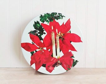 Vintage Christmas Tin Box Poinsettia and Candles Mid Century Christmas Tin Cookie Tin Candy Tin Fruitcake Tin Sewing Box Vintage Gift Box