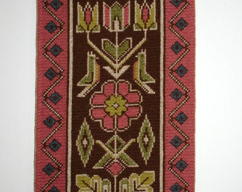 Swedish Folk Art Hand Embroidered Wall Hanging