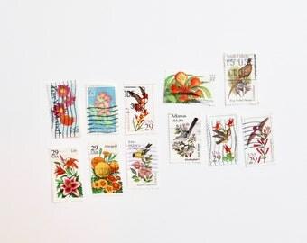 11 Floral and Bird-Themed Vintage Used Stamps | Vintage Postage | Embellishments | Vintage Styling Props | Vintage Wedding Stationery