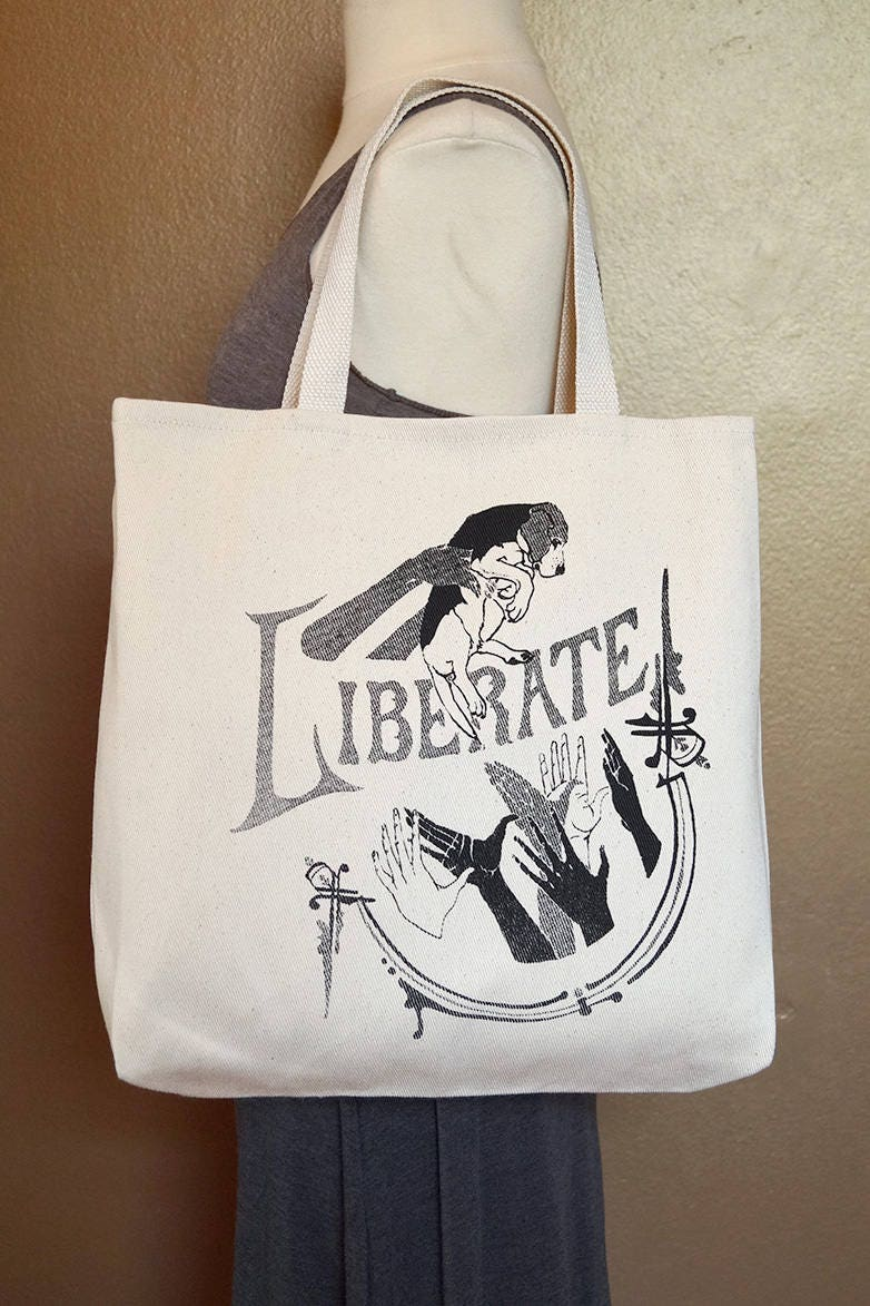"Tote Bag ""Liberate"" Black Ink on Natural Cotton"
