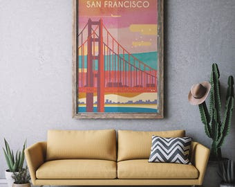 San francisco, California Skyline, San Francisco skyline, Wall art, City poster, Home Decor, San Francisco California Cityscape Art Print.