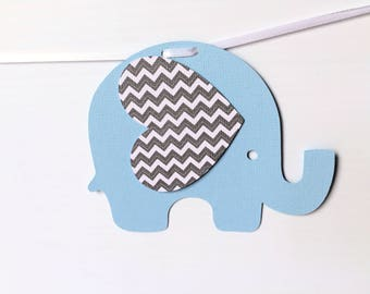 Baby Blue and Grey Chevron Elephant Garland. Photo prop, Baby shower, first birthday party, bunting, banner. Handmade party decorations.