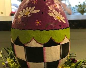 Hand Painted Black and White Check Easter Egg