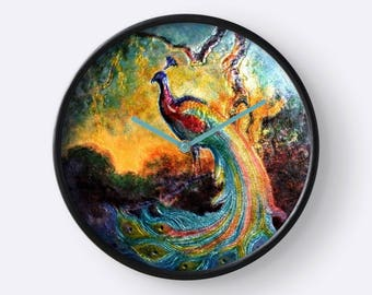 Exquisite Peacock Design Wall Clock / Image from Antique Russian Enamel-on-Copper Trinket Box