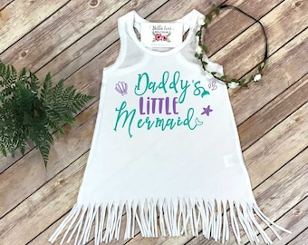 Little Mermaid, Daddys Little Mermaid, Mermaid Baby Shirt, Beach Baby, Summer Baby Dress, Baby Shower Gift, Baby Fringe Dress, Mermaid Shirt