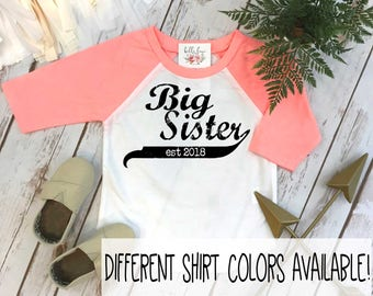 Big Sister Shirt, Sister Baseball Shirt, Sisters Shirts, Big Sister Reveal, Promoted to Big Sister, Sisters tees, Big Sister Announcement