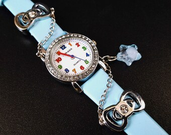 Cartoon Children Watch, Lether Bracelet Watch, Blue Wristwatch
