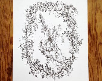 Herbs and Charms with Decorative Border, Art Print, Pen and Ink,Witchy Print,Magical Art,