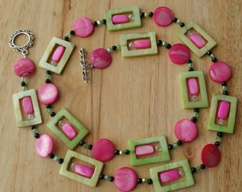 Hot Pink and Green Jewelry Set